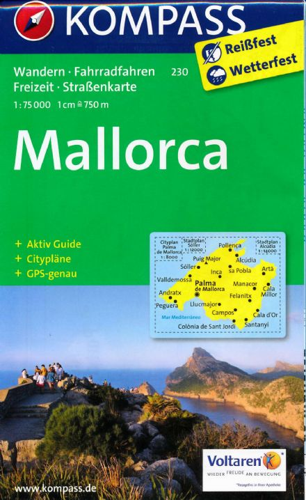 Mallorca Majorca - Kompass Map 1:75,000 with German Only Guide